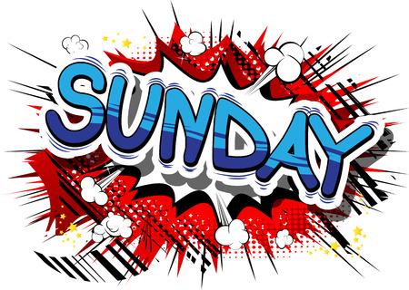 日曜日 - コミック スタイル word の抽象的な背景。
