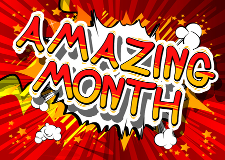 Amazing Month - Comic book style phrase on abstract background. Çizim