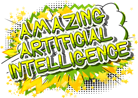 Artificial Intelligence - Comic book style word on abstract background. Çizim