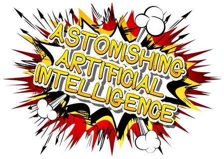 驚異的な人工知能 - コミック スタイル word の抽象的な背景。  イラスト・ベクター素材