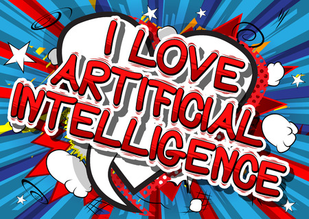 I Love Artificial Intelligence - Comic book style word on abstract background.
