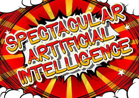 Spectacular Artificial Intelligence - Comic book style word on abstract background. 向量圖像