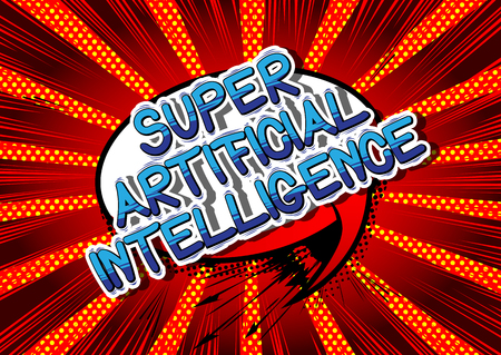 Super Artificial Intelligence - Comic book style word on abstract background. Çizim
