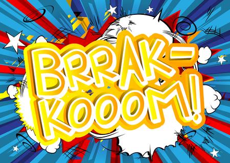 Brrak Kooom!ベクトルには、コミック スタイルの式が示されています。  イラスト・ベクター素材