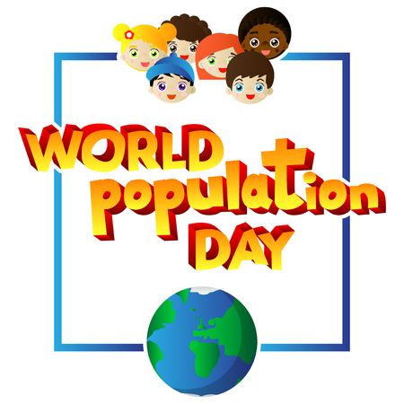 Vector illustrated banner, greeting card or poster for World Population Day.