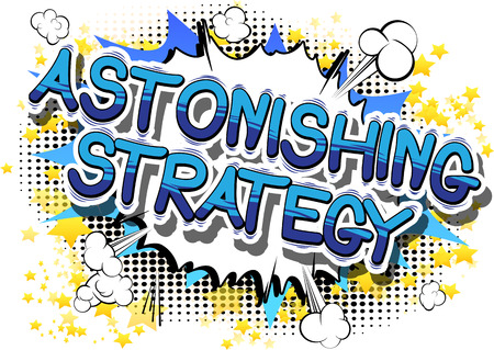 Astonishing Strategy - Comic book style phrase on abstract background. Иллюстрация