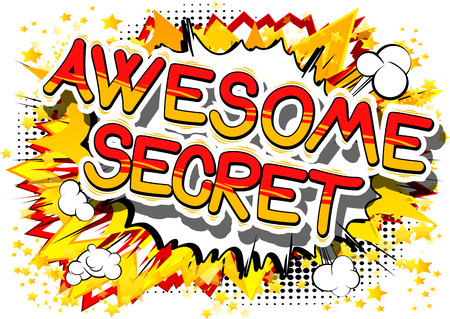 Awesome Secret - Comic book style phrase on abstract background. Banco de Imagens - 81690420