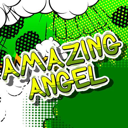 놀라운 천사 - 추상적 인 배경에 만화 스타일 문구. 일러스트