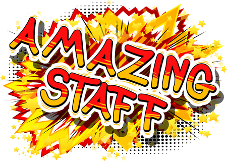 Amazing Staff - Comic book style phrase on abstract background. Stock Illustratie
