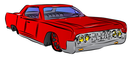 Vector illustrated cartoon luxury car on white background.