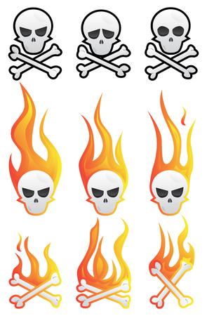 두개골 화 염과 뼈를 사용 하여 설정합니다. 벡터 만화 스타일 컬렉션을 보여줍니다.
