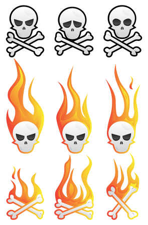 Skull set with flames and bones. Vector illustrated cartoon style collection.
