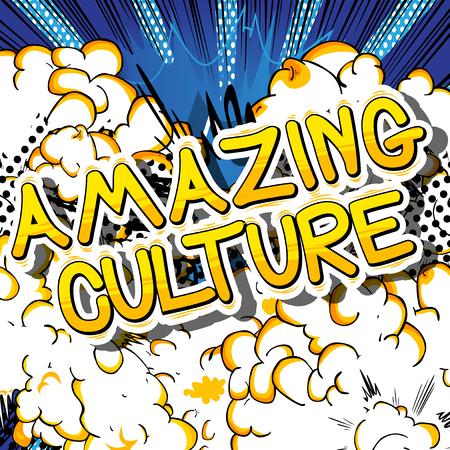 Verbazende Cultuur - Stripboek stijl zin op abstracte achtergrond.