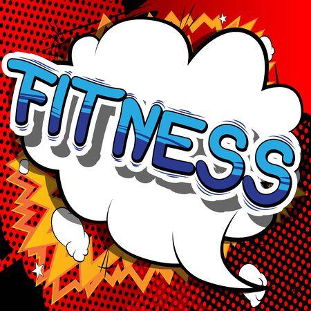 Fitness Frase De Estilo Cómic Sobre Fondo Abstracto