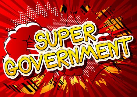 スーパー政府 - コミック スタイル句の抽象的な背景。