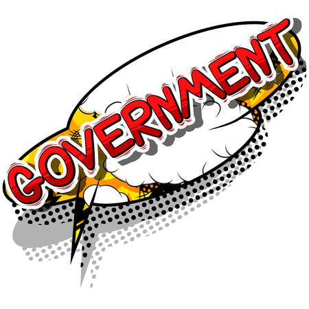 law school: Government - Comic book style phrase on abstract background. Illustration