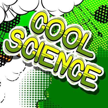 Cool Science - Comic book style phrase on abstract background. Çizim
