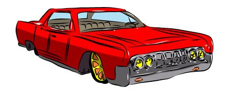 벡터 그림 흰색 배경에 만화 미국의 럭셔리 자동차.