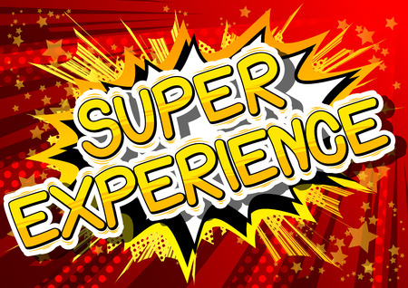 Super Experience - Comic book style phrase on abstract background. 向量圖像