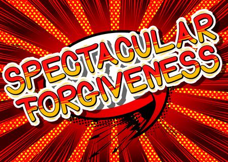 Spectaculaire Vergifnis - Stripboekstijlzin op abstracte achtergrond.