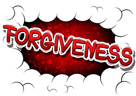 Forgiveness - Fumetto di stile di fumetto su sfondo astratto. Archivio Fotografico - 83287086