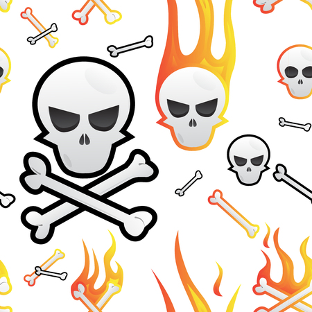 Seamless pattern with skulls and bones in fire. Vector illustration.