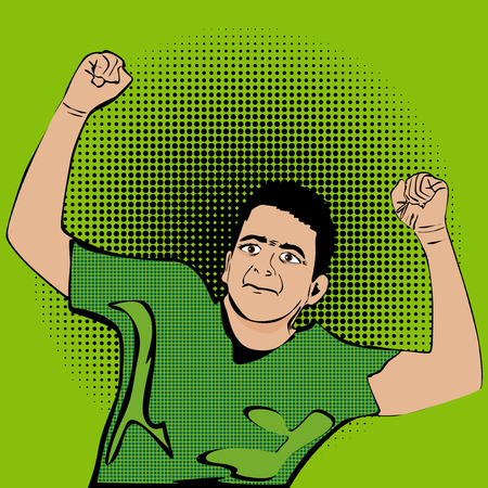 Vector illustrated Happy man, cartoon character with fists on the air. 向量圖像