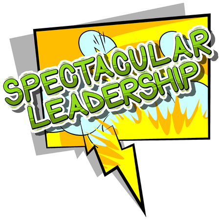 Spectacular Leadership - Comic book style phrase on abstract background.