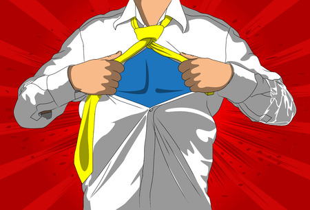Pop art businessman acting like a super hero. Tearing his shirt off with space on his chest. Vector illustrated comic book style, cartoon man.