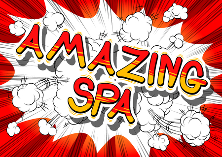 Amazing Spa - Comic book style phrase on abstract background.