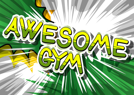 Awesome Gym - Comic book word op abstracte achtergrond.