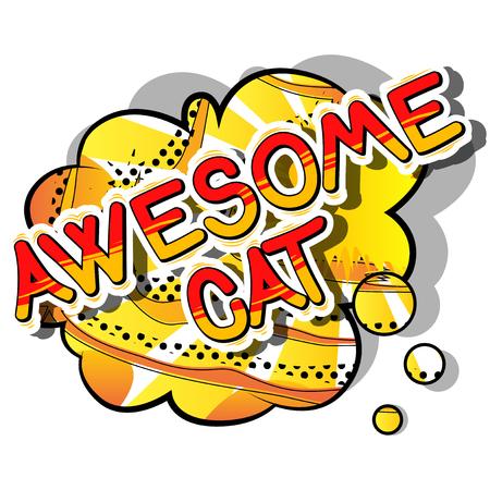 굉 장 고양이 - 추상적 인 배경에 만화 단어입니다.