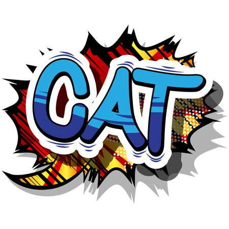 고양이 - 추상적 인 배경에 만화 단어입니다. 일러스트