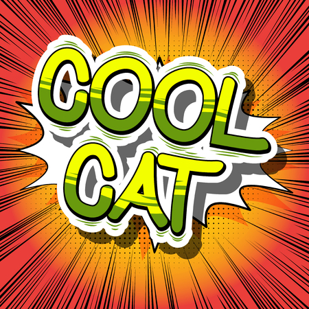 Cool Cat - Comic book word on abstract background.