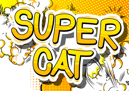 Super Cat - Comic book word on abstract background.