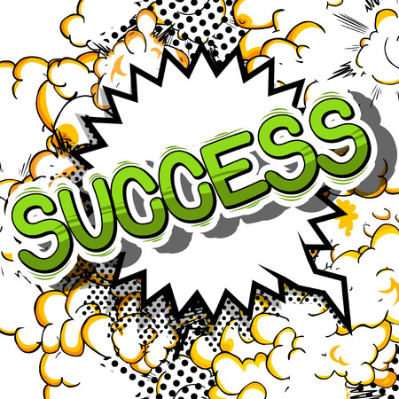 Success - Comic book word on abstract background.