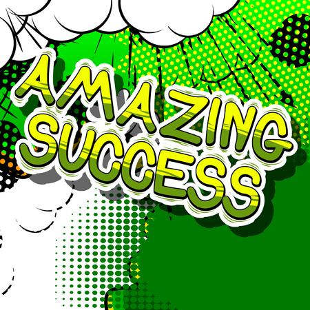 놀라운 성공 - 추상적 인 배경에 만화 단어입니다.