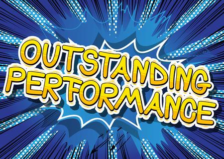 Uitstekende prestaties - stripboekwoord op abstracte achtergrond. Stock Illustratie