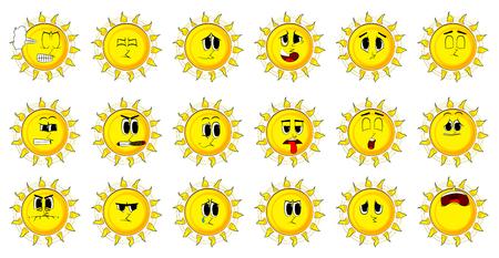 Collection de soleil de bande dessinée avec des visages heureux. Ensemble de vecteurs d'expressions. Banque d'images - 84908679