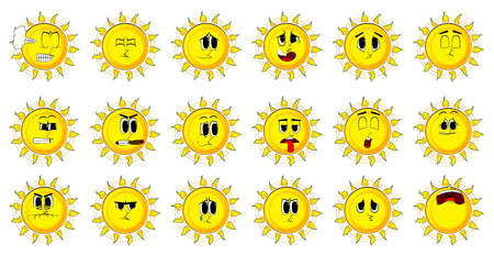 Cartoon sun collection with happy faces. Expressions vector set. Illustration
