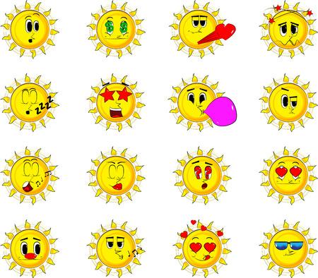 Cartoon sun collection with various facial expressions. Vector set.