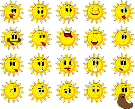 Cartoon sun collection with happy faces. Expressions vector set. 向量圖像
