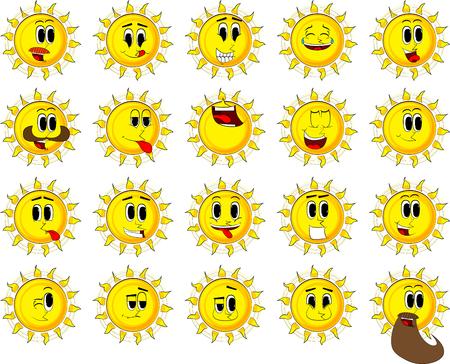 Colección de sol de dibujos animados con caras felices . vector de estilo de expresiones . Foto de archivo - 84908680