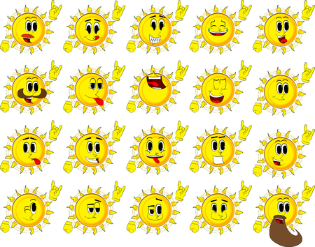 Cartoon sun with hands in rocker pose. Collection with happy faces. Expressions vector set.