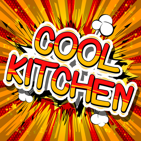 Cool Kitchen - Comic book word on abstract background.