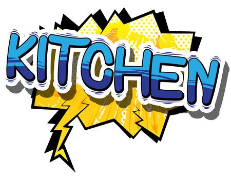 キッチン - 漫画本言葉の抽象的な背景。