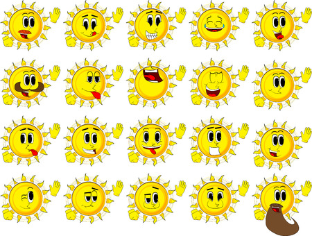 Collection of happy faces, Expressions vector set. Illustration