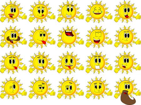 Cartoon zon duimen omhoog teken maken. Verzameling met blije gezichten. Expressies vector set.