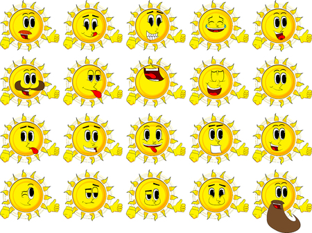 Cartoon sun making thumbs up sign. Collection with happy faces. Expressions vector set.