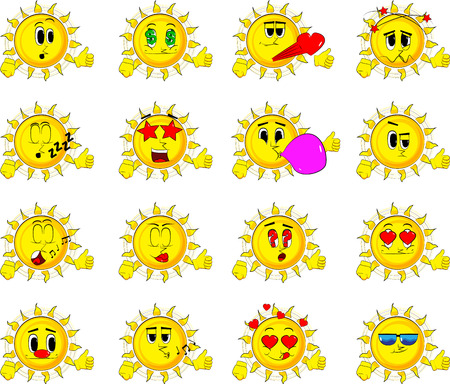 Cartoon sun making thumbs up sign. Collection with various facial expressions. Vector set.